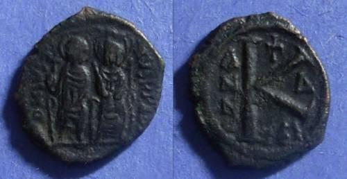 Ancient Coins - Byzantine Empire, Justin II 565-578, Half Follis