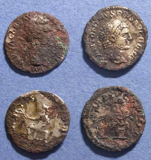 Ancient Coins - Roman Empire, Nerva & Caracalla 96-98 & 198-217, Fourree Denarius