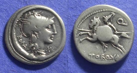 Ancient Coins - Roman Republic – Manlia 2 – 113-2 BC Denarius