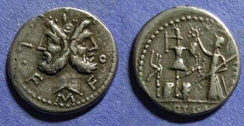 Ancient Coins - Roman Republic, M Furius L f Philus 120 BC, Denarius