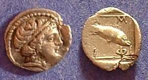 Ancient Coins - Amphipolis Macedonia Obol 420-357 BC