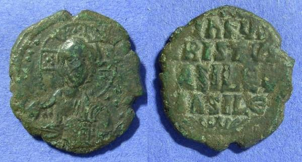 Ancient Coins - Byzantine Empire – Basil II & Constantine VIII  - Anonymous Class A3 follis Circa 1020AD