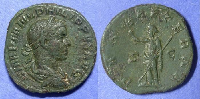 Ancient Coins - Roman Empire, Philip II 247-9, Sestertius