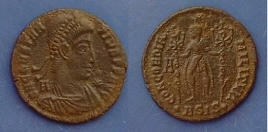 Ancient Coins - Constantius II - Struck under Ventranio CONCORDIA MILITVM reverse