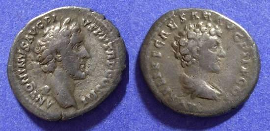 Ancient Coins - Antoninus Pius and Marcus Aurelius - 138-161AD - Denarius