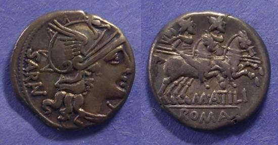 Ancient Coins - Roman Republic, M Atilius Saranus 148 BC, Denarius