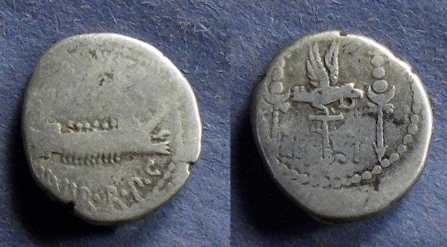 Ancient Coins - Roman Imperatorial, Marc Antony Struck 32-31 BC, Denarius