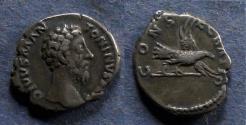 Ancient Coins - Roman Empire, Divo Aurelius d. 180 AD, Denarius