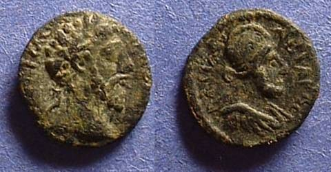 Ancient Coins - Edessa Mesopotamia - Abgar VIII and Commodus AE-13