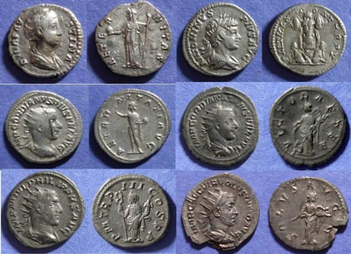 Ancient Coins - Roman Empire, Group of 6 Roman Silver 138-253,