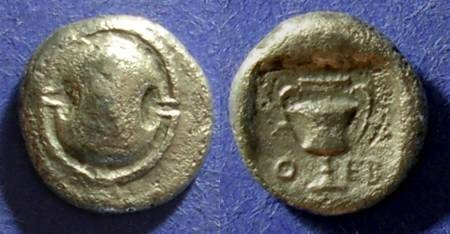 Ancient Coins - Thebes, Boeotia 395-338 BC, Hemidrachm