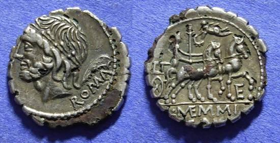 Ancient Coins - Roman Republic - Fourre Denarius - 106 BC Memmia 2a
