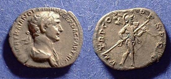Ancient Coins - Trajan 98-117AD Denarius with Mars reverse