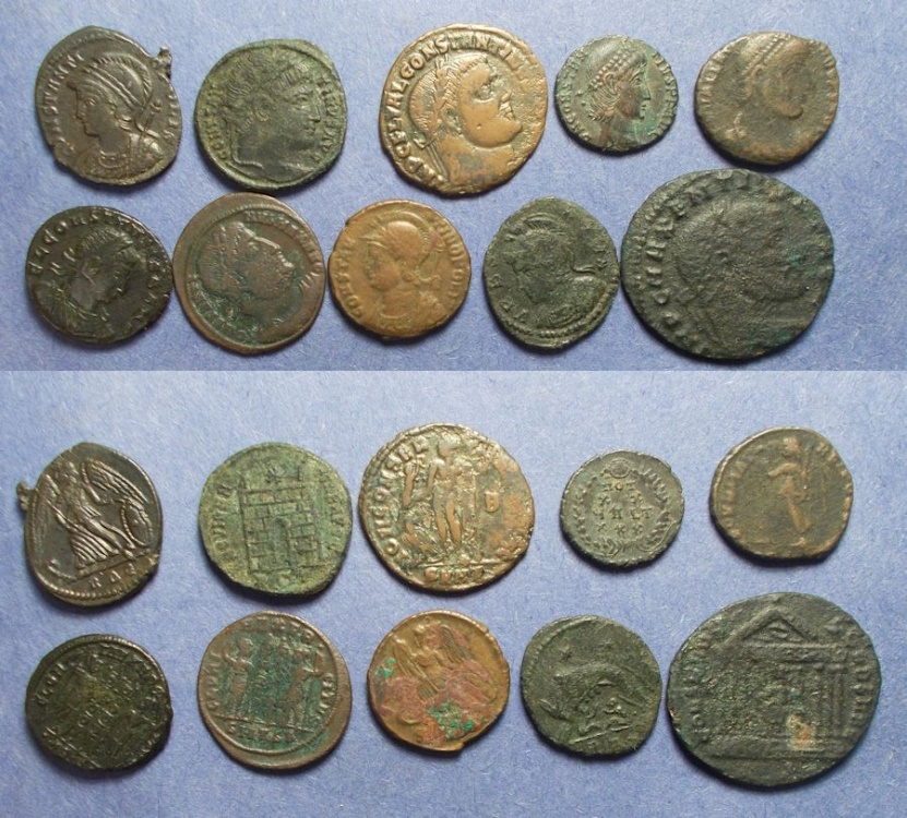 Ancient Coins - Roman Empire, Group of 10 Roman Bronze Coins ,