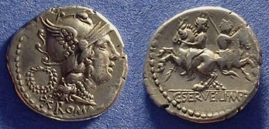 Ancient Coins - Roman Republic Servilia 1 Denarius 136 BC