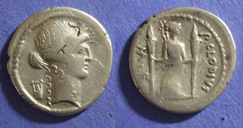 Ancient Coins - Roman Republic, P Clodius M f Turrinus 42 BC, Denarius