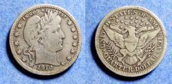 Us Coins - United States,  1910-D, Silver Barber Quarter