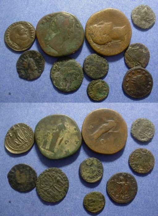 Ancient Coins - 10 Roman AE coins - 1st to 4th century