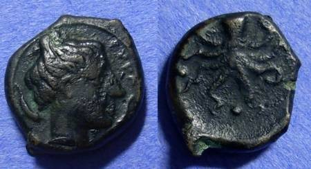Ancient Coins - Syracuse Sicily - AE Tetras Circa 425 BC - The first AE issue of Syracuse