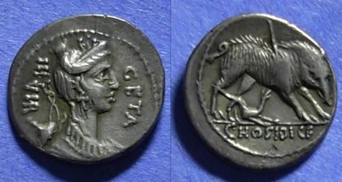 Ancient Coins - Roman Republic, C Hosidius C f Geta 68 BC, Denarius
