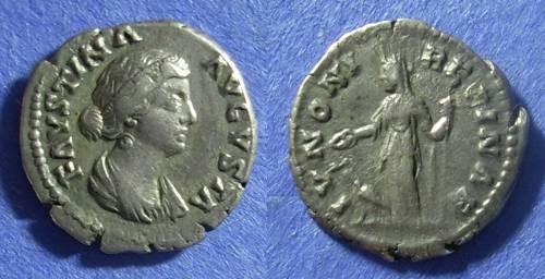 Ancient Coins - Roman Empire Faustina Jr. (Wife of M. Aurelius) d. 175 Denarius