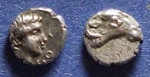Ancient Coins - Caria, Halicarnassos(?) 395-377 BC, Hemiobol