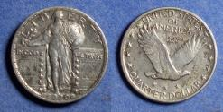 Us Coins - United States,  1920, Silver Standing Liberty Quarter