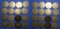 """Us Coins - United States,  Type struck from 1883-1912,  Group of 16 Liberty""""V"""" nickels"""