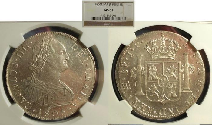World Coins - Peru, Charles IIII 1805, 8 Real NGC MS-61
