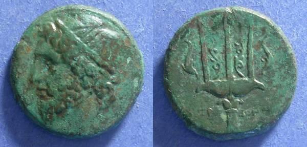 Ancient Coins - Syracuse Sicily, Hieron II 275-215 BC, AE22