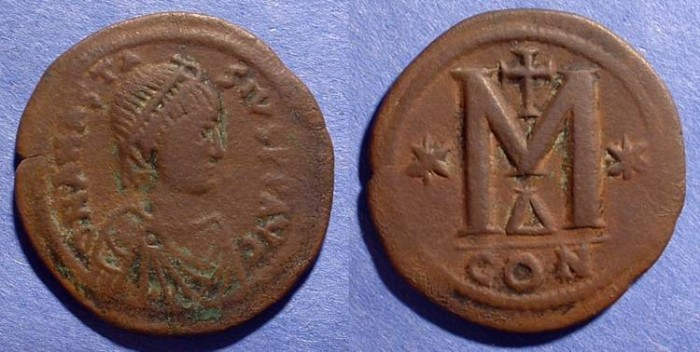 Ancient Coins - Anastasius 491-518AD Follis