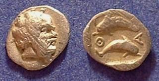 Ancient Coins - Thasos (Island off Thrace) Obol  Circa 380 BC