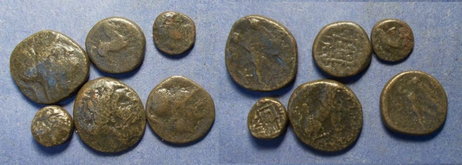 Six Greek AE coins, Circa 300-100 BC,