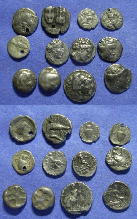 Ancient Coins - 12 Greek silver coins - fractions to Drachm size