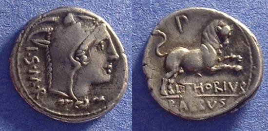 Ancient Coins - Roman Republic - Thoria 1 Denarius 105BC
