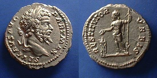 Ancient Coins - Septimius Severus 193-211 AD Denarius  - Severus sacrificing reverse