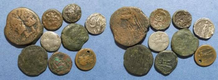 Ancient Coins - 9 Coins of the Roman Republic,  Circa 200-50 BC,