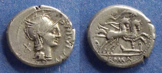Ancient Coins - Roman Republic, M Cipius M f 115-114 BC, Denarius