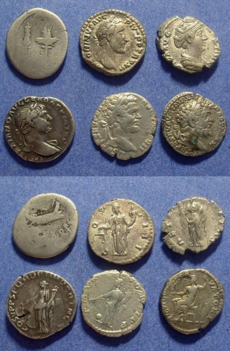 Ancient Coins - 6 Roman Denarii 2nd and 3rd centuries