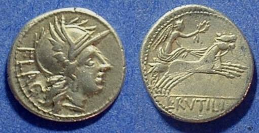 Ancient Coins - Roman Republic Denarius - Rutilia 1a - 77BC
