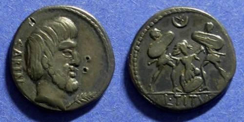Ancient Coins - Roman Republic T Tiurius L f Sabinus 89 BC Denarius