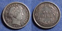 Us Coins - United States,  1897, Silver Barber Dime, VF