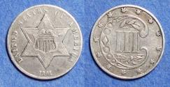 Us Coins - United States,  1861, Silver 3 Cent