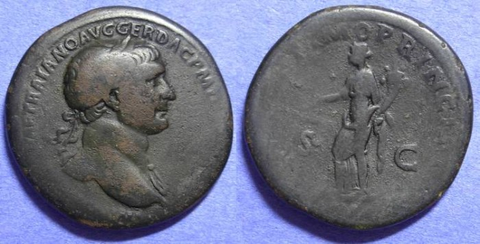 Ancient Coins - Trajan 98-117 AD Sestertius