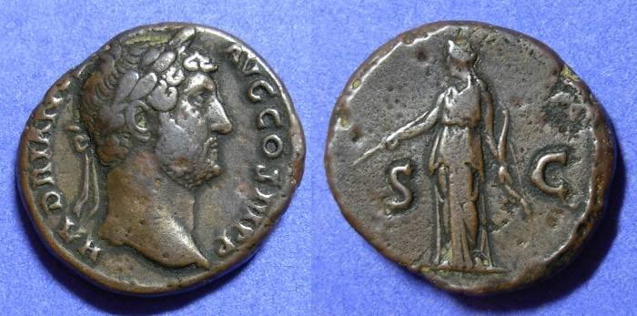 Ancient Coins - Hadrian 117-138 - Aes with Diana reverse
