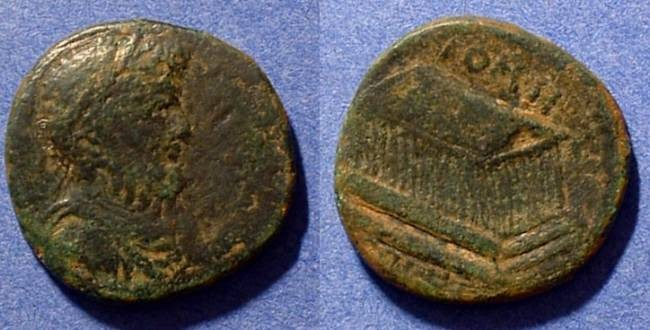 Ancient Coins - Septimius Severus AE26 of Heliopolis w/ Temple of Jupiter