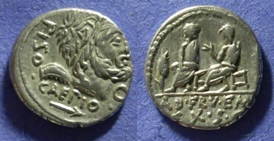 Ancient Coins - Roman Republic - L Calpurnius Piso Caesoninus and Q Servilius Caepio Denarius 100BC