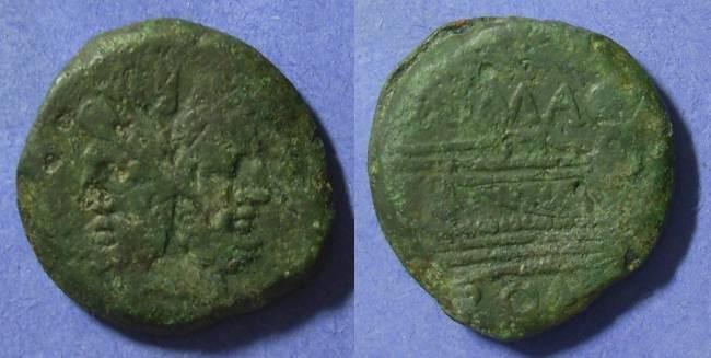 Ancient Coins - Roman Republic C Fonteius 114/113 BC Aes