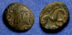 Ancient Coins - Celtic Gaul, Ambiani Circa 50 BC, AE 12x14mm