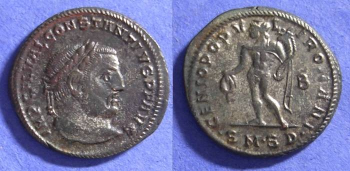 Ancient Coins - Constantius I as Augustus 305/6 AD – Follis – 50+% silvered